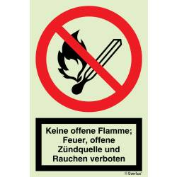 Verbots Zeichen Feuer, offenes Licht, Rauchen verboten SN...