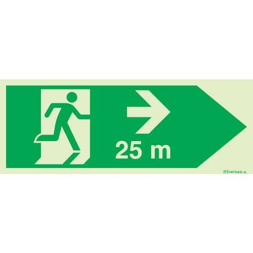 Rettungszeichen für Tunnel Fluchtwegrichtung mit Distanzangabe