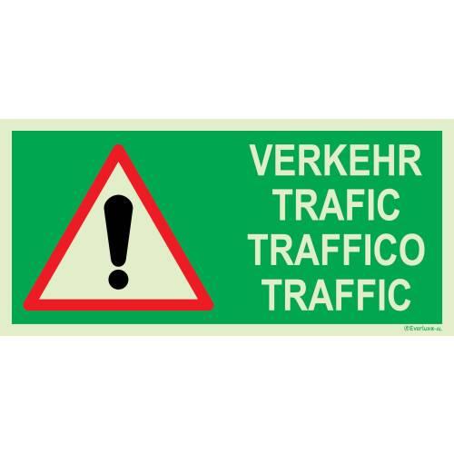 Rettungszeichen für Tunnel Achtung Verkehr
